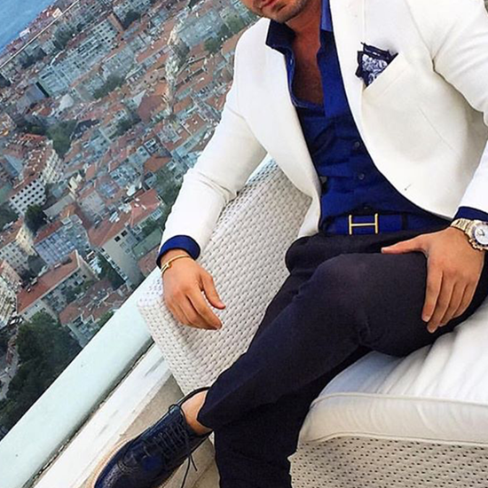 Picture of White jacket with black trousers