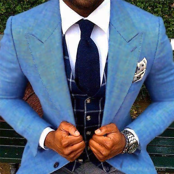 Picture of Blue and Grey Mixed Fabric Three Piece Suit