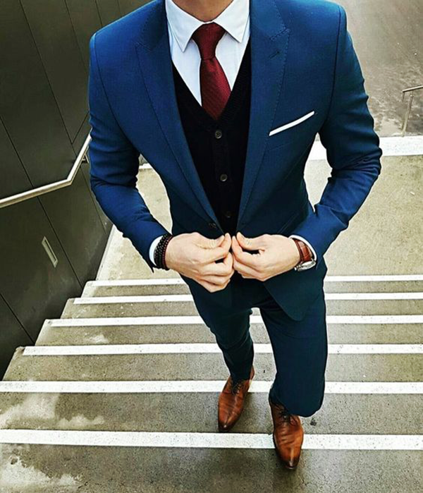Picture of Blue suit with black waistcoat