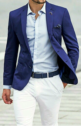 Picture of Blue jacket and white trousers