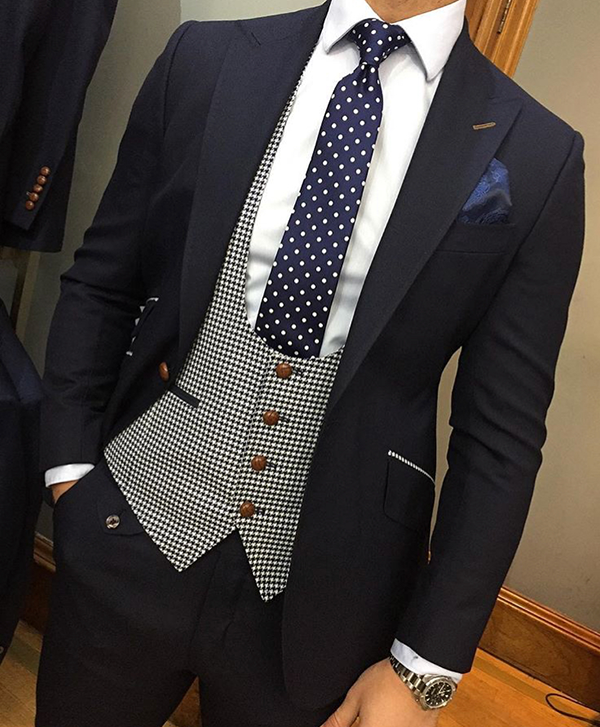 Picture of Dark Navy Suit with Dogtooth Waistcoat