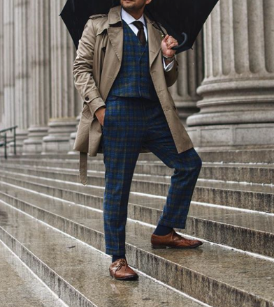 Picture of Blue check tweed effect three-piece suit