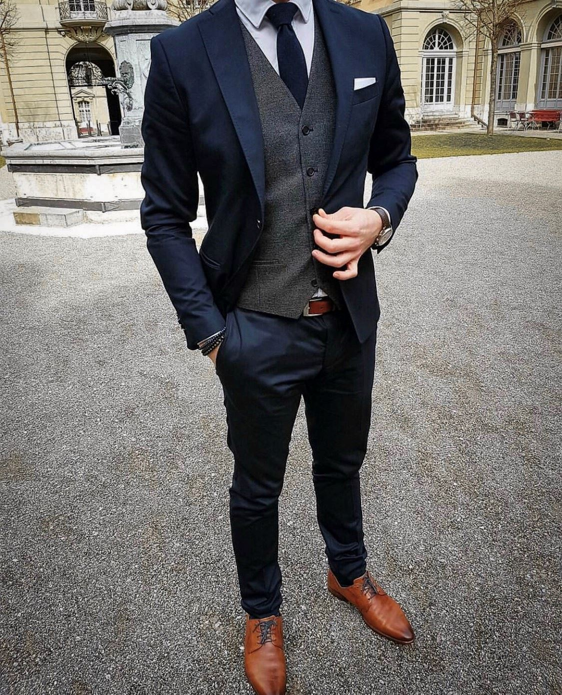 Picture of Navy slim fit suit with grey waistcoat