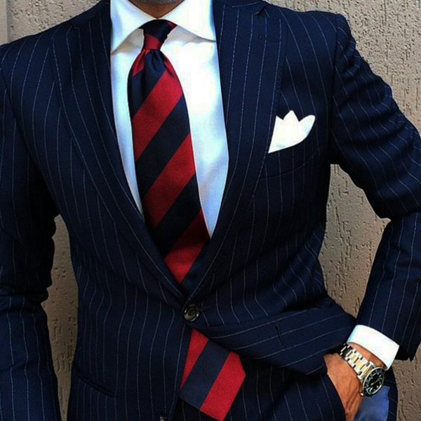 Picture of Navy Pinstriped Two-Piece Suit