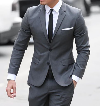 Picture of Grey single breasted two-piece suit