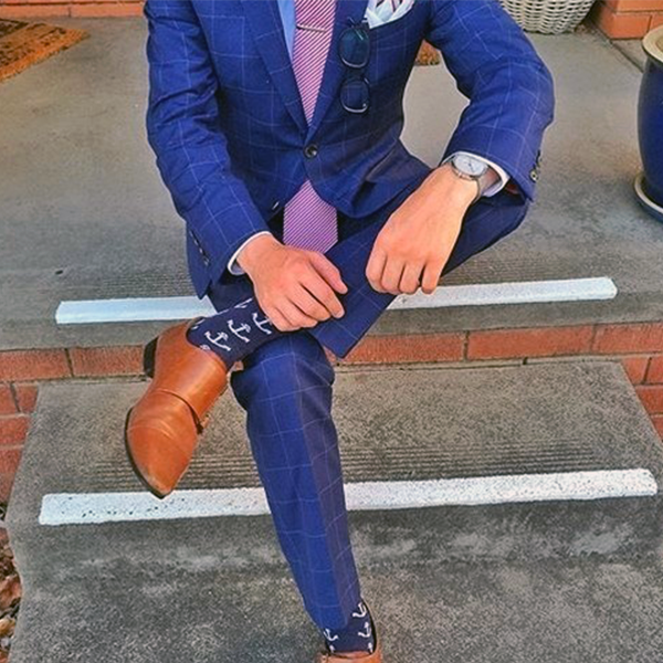 Picture of Blue checked two-piece suit