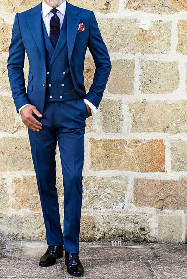 Picture of Blue three-piece with double breasted waistcoat