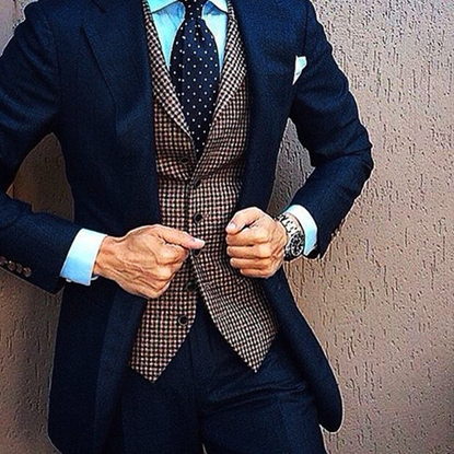 Picture of Navy Blue Suit with Brown Checked Waistcoat