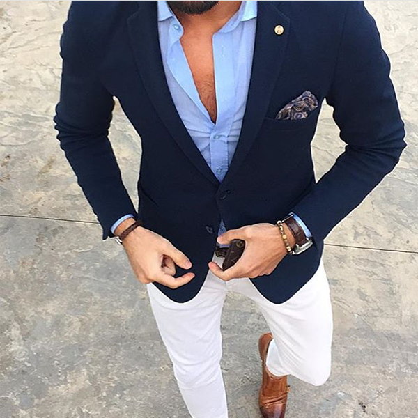 Picture of Navy blue single-breasted jacket with white trousers