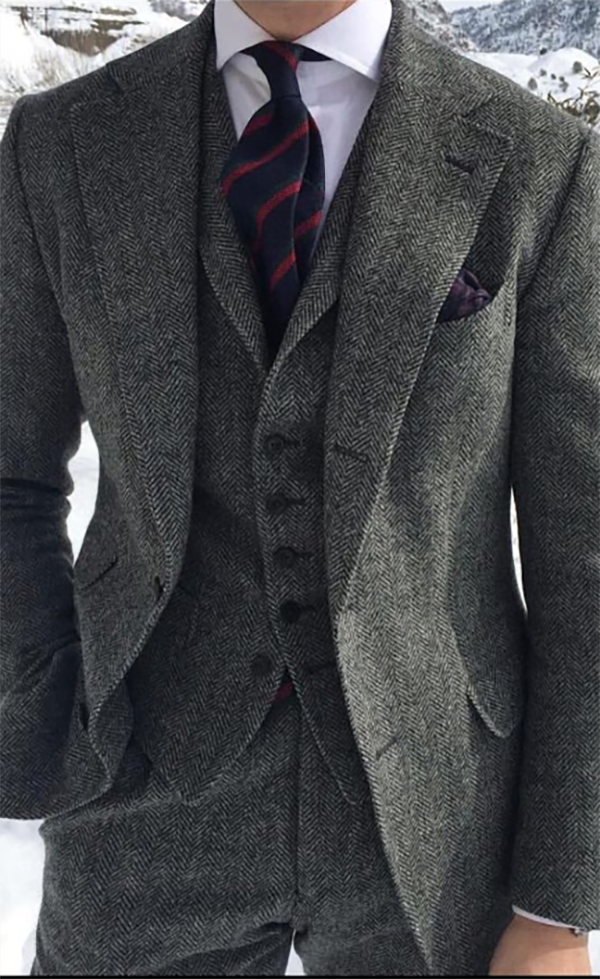 Picture of Grey Tweed-Effect Three Piece Suit