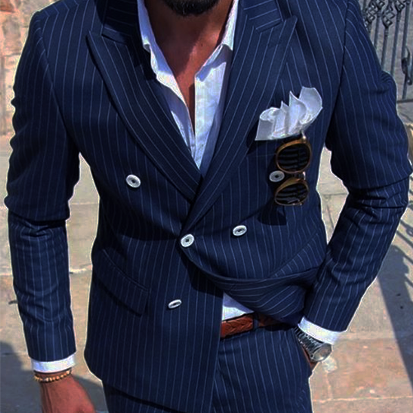 Picture of Navy blue pin-striped double-breasted suit