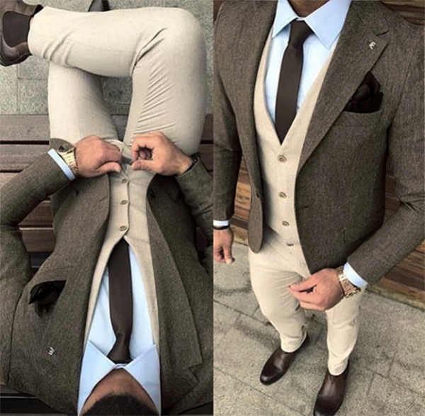 Picture of Brown tweed-effect mixed fabric three-piece suit